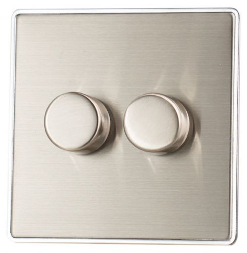 G&H LSS12 Screwless Brushed Steel 2 Gang 1 or 2 Way 40-400W Dimmer Switch